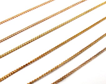 Vintage Red Brass Curb Chain Necklaces - Soldered (4X ) (C610)