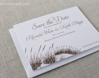 Beach Save the Dates, Beach Wedding Save the Dates, Sea Oats Save the Dates, Sand Dunes Save the Dates, Beach Grass Save the Dates, Printed