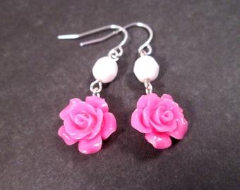 Hot Pink Flower Earrings, Resin Rose Blossoms, Silver Dangle Earrings, FREE Shipping U.S.