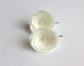 Ivory Bridal Flowers Hair Pins with Lace, Shoe Clips