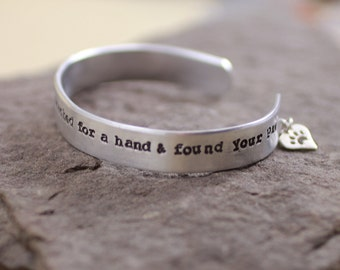 In My Darkest Hour I Reached For A Hand And Found Your Paw Aluminum Cuff With Sterling Silver Heart And Paw Cut Out
