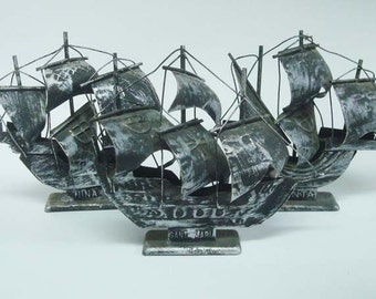 Set of 3 Columbus Ships Santa Maria Pinta Nina Aluminum
