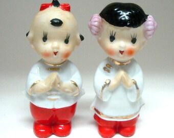 Pair of Asian Children Figurines Japan
