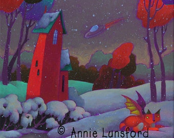 """Twilight Space Scene - Fits 12"""" x 16"""" Mat Limited Edition Giclee Print """"Snowing in Outer Space"""" Winged Cat Flying Saucer Whimsical Red House"""