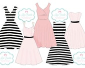 Stripes Bridesmaids Dress Custom Mix and Match Fit and Flare Print Bridesmaids Dresses