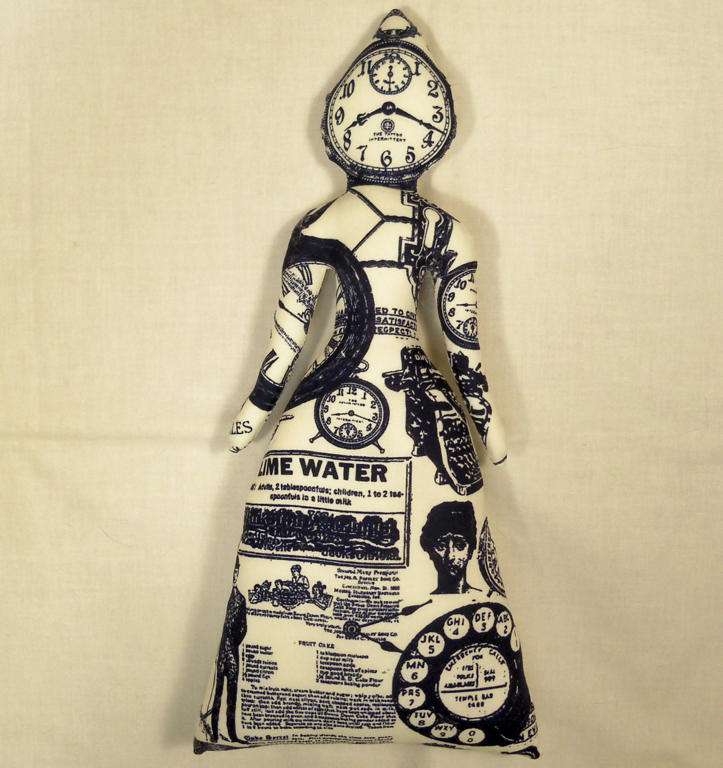 TIME Stands Still STEAMPUNK cloth art doll 11 in. tall You Finish it Bead Decorate Goddess steampunk buy now online