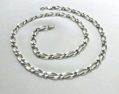 Vintage Italian Sterling Silver 20in Figaro Necklace, 925 Heavy Wide Chain Link... Unisex Jewelry, Gift for Him