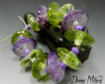 HANDMADE LAMPWORK Glass Beads SET Donna Millard sra disc beads orchid purple lime green lamp work spring garden