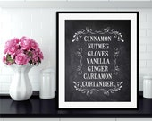 Sweet Spices KITCHEN TYPOGRAPHY Vintage Style Print  - Chalkboard, Kraft, Black or White Print-  Digital Download