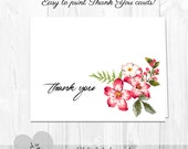 PRINTABLE Thank You Cards RED Watercolor Floral  - Holiday or Any Occasion - Printable