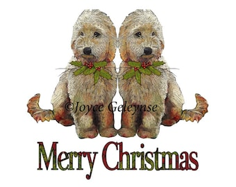Printable Dog Christmas Clip Art, Labradoodle Pups, Merry Christmas, Holly, Artwork, Commercial Use, Holiday Clipart, png and jpg files