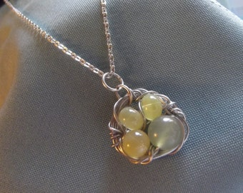 Birds Nest Eggs Necklace Yellow Green Silver - To Benefit Heart Strings