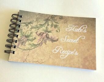 Recipe Book, personalized, custom book, recipe cards, party favor, gift book