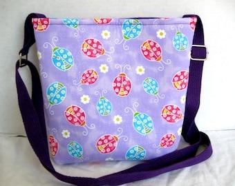 Ladybug Cross Body Purse - Purple Ladybugs Hip Bag - Lady Bug Hipster - Long Adjustable Strap Sling Tote
