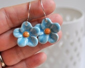 Turquise Porcelain Posies- Porcelain Flower Earrings in Sky Blue