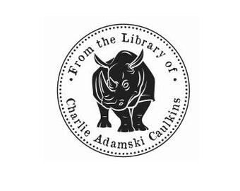 Rhino bookplate custom rubber stamp Rhinoceros library ex libris