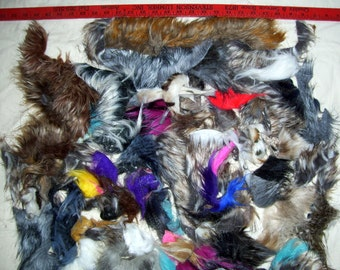 Mystery Faux half pound fur scrap bag for crafts masks dolls hair kids projects quality furry fun art teacher waldorf Natural or Colors