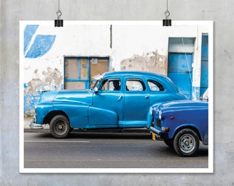 Blue Vintage Cars in Havana Cuba Fine Art Photograph Photo Big Print Poster old automotive navy turquoise Cuban home decor wall art gift him