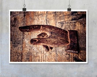 Pointing Metal Direction Sign Photo rusty brown - 12x8 18x12 20x30 20x16 photographic wall art home decor photo big print poster display