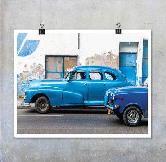 Blue Vintage Cars in Havana Cuba Fine Art Photograph Photo Big Print Poster old automotive navy turquoise Cuban home decor wall art gift him