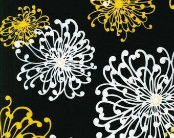 Robert Kaufman Night and Day 3 Large Floral Yellow White on Black Fabric (OOP) - Half  Yard
