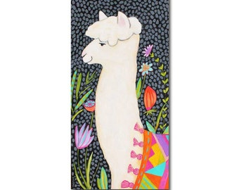 ORIGINAL Large acrylic painting ALPACA with flowers and dots folk art by TASCHA