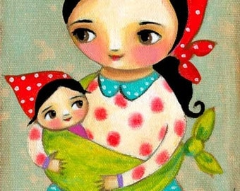 MAMA and BABY Babushka baby in sling sweet little girl nursery room folk art painting PRINT by Tascha