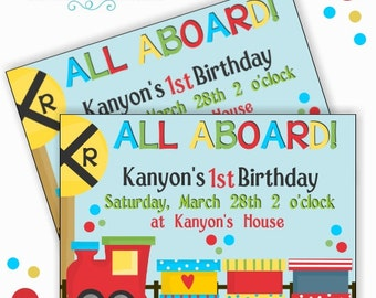 Personalized Train Birthday Party Invitation Printable