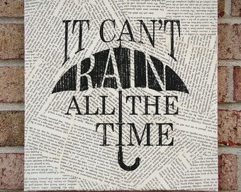 "Quote on Canvas: ""It Can't Rain All The Time"" The Crow - Canvas Art / Prints on Canvas - Inspirational Quote Wall Art"