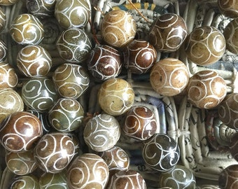 Antique Jade Carved Round Beads 15mm EARTHTONES Strand