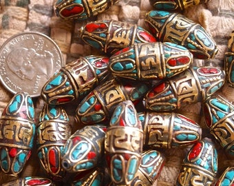 PAIR of Decorated brass turquoise and coral MANTRA beads