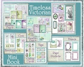Timeless Victorian Mini Book Kit - 20 Papers and 38 Embellishments - Cottage Chic Vintage INSTANT DOWNLOAD Digital Printable