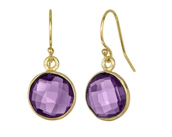 Purple Quartz Bezeled Round Earring on 14k GF Ear-wires