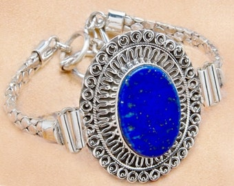 Sale: Sterling Silver and Blue Lapis Lazuli Bracelet