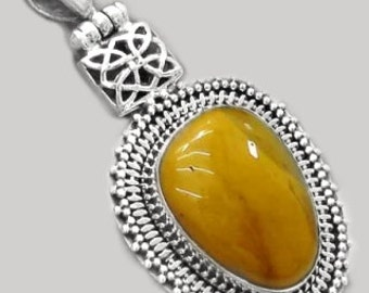 Sale: Fancy Yellow Mookaite Jasper and Sterling Silver Pendant