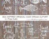 Digital Clipart Hand Drawn Calligraphy Clipart Marine, Sea, Sailboat Fish