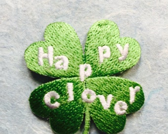 Four Clover Iron On Patch / Applique 40 x 40 mm (1.65 x 1.65 inches) - Code PC126