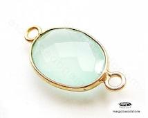 20mm (stone 14 x 10mm) Seafoam Chalcedony Bezel Gold Gemstone Pendant Connector 2 loops F393- 2 pcs