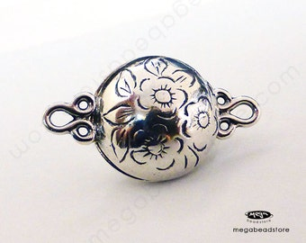 Flowers Large Magnetic Sterling Silver Pearl Clasp F07- 1 set