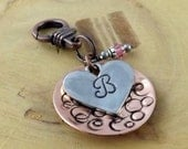 CUSTOM monogram initial birthstone hand stamped pendant copper and pewter free stainless steel chain included