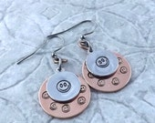 Smile Happy smiley face copper and aluminum sweetheart metal hand stamped gunmetal french hook earrings