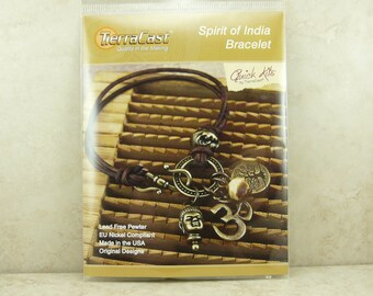 Spirit of India Bracelet > TierraCast Quick Kit - Om Tree of Life Buddha Elephant Leather Brass Ox - American Made Lead Free Pewter