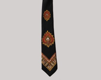 Vintage Tie, Narrow, Navy, Red Paisley, 1960s, Boho