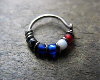 captain america hoop-- superhero nose ring or hoop earring-- handmade by thebeadedlily