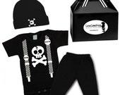 Punk Rock Baby Boy Gift Set - Skull Suspenders Onesie, Pants & Skull Hat
