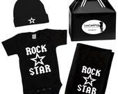 Punk Rock Baby Gift Set black one piece blanket hat ROCKSTAR STARS