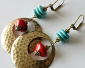 Turquoise and Red Coral Earrings, Southwestern, Hammered Brass Discs, Turquoise Howlite, Drop Earrings, Beaded Earrings, Beaded Jewelry