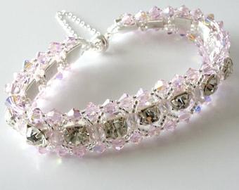 Crystal Rhinestone Bracelet, Light Baby Pink, Bridal, Wedding, Beaded Jewelry, Beaded Bracelet, Crystal Tennis Bracelet..Romancing the Stone