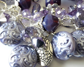 ON SALE Silver Lilac Beaded Charm Bracelet Lavender Purple Grape Silver Chain Beaded Jewelry Beaded Bracelet ChaCha Bracelet