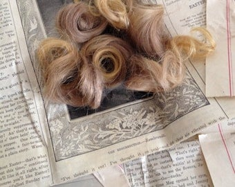 Sale - 30% Off - Antique Hair Curls - Probably from a Child - Stored in Newspaper - Hair Memorial Mourning - 1914
